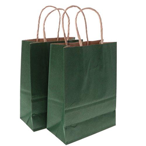 Blesiya Sacchetto Di Carta Borsette In Kraft Cartone Maniglia Buste Shopper Compleanno Nozze 10 Pezzi - Verde scuro, 21x27x11cm
