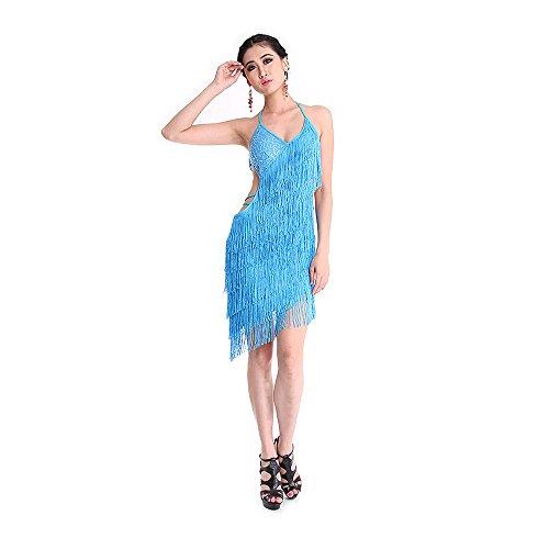 SymbolLife Frauen Dame Latin Dance Kleid Fransenkleid mit Pailletten Damen sexy Tanzkleidung Partykleid Darbietungen Tanzkostüme für Karneval Fasching Halloween (Professional Dance Kostüme Latin)