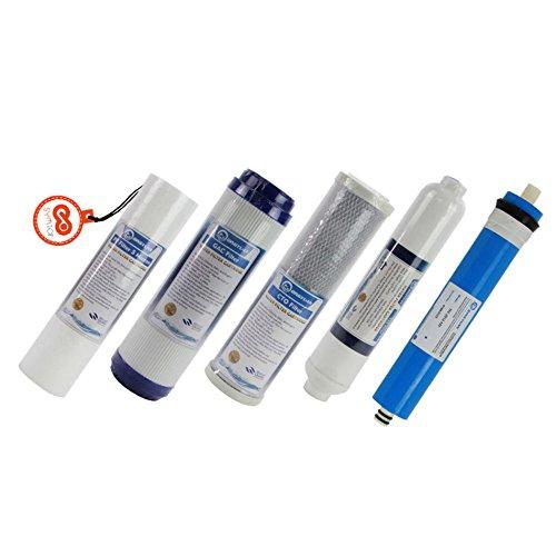 5 Stufen Wasserfilter Ersatz Set mit 75 GPD Membran für RO Osmose Umkehrosmose Filtersatz Set (5-micron-carbon-wasser-filter)