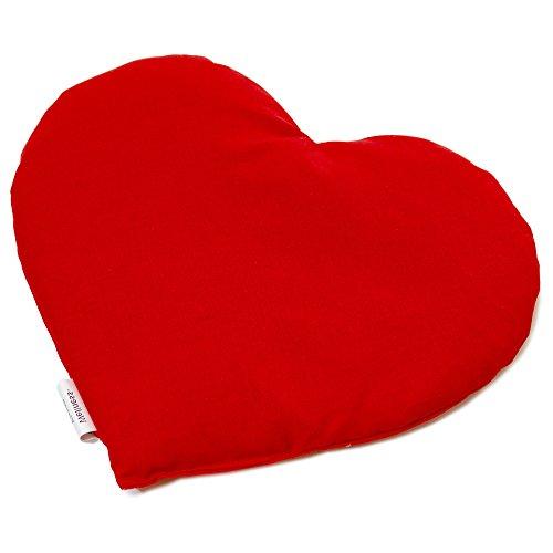 Kirschkernkissen Herz | ca. 30x25cm Bio Stoff rot | Wärmekissen | Körnerkissen | Ein charmantes Geschenk - Bio-rote Herzen