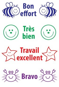 Set of 4 French marking stamps: 'Tres bien', 'Travail excellent',