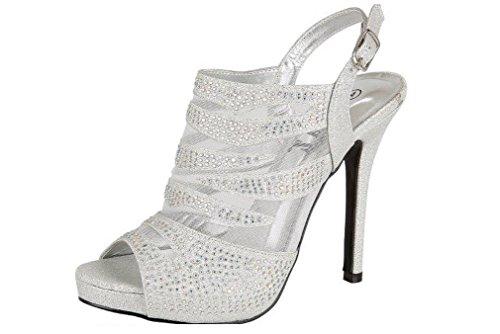 Pour femme Argenté/doré en strass pour chaussures à talon aiguille avec plateforme de soirée-Chaussures Sandales silver