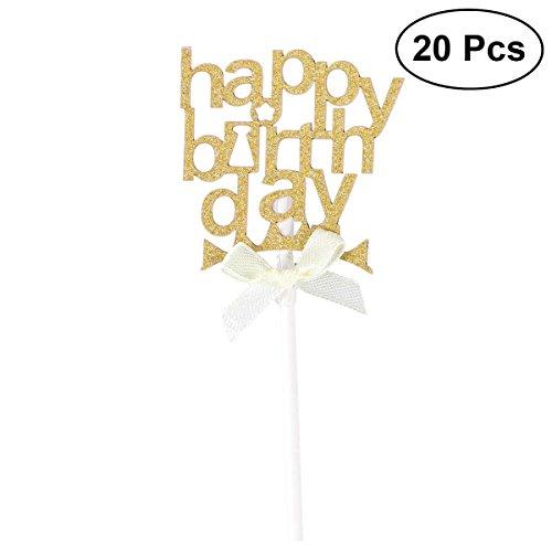 Glitter Papier Kuchen Einsteckkarte Kuchen Cupcake Toppers Dekoration Geburtstag Hochzeit Halloween Party Favors Lieferungen mit Papier Stick und Dispensing Kleber-SR038 (Golden) ()