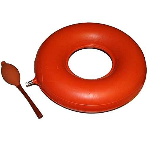 Sitzring Gummi aufblasbar- 40 cm Durchmesser - rot - mit Luftpumpe - Sitzkissen gegen Beschwerden bei Dekubitus, Hämorrhoiden, Rückenschmerzen und zur Steißbein Entlastung