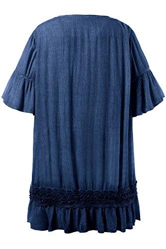 Ulla Popken Damen Bluse Tunika Cold Dye mit Spitzenbesatz Pazifikblau