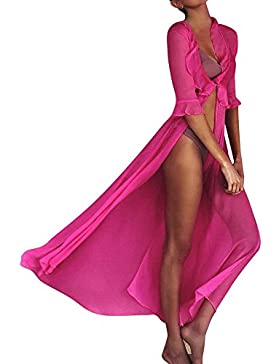 QUICKLYLY Mujeres De Baño Bikini Playa Protector Solar Larga Vestido Cubierta hasta Ropa De Playa Mujeres Bikini...