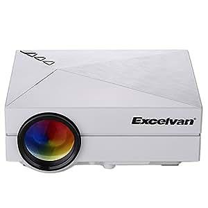 Excelvan GM60 Mini Projecteur VidéoProjecteur Portable Multimédia Théâtre Maison LED 800 * 480 1000 Lumens(80 ANSI Lumens)Home Cinéma HDMI USB AV VGA SD- Blanc