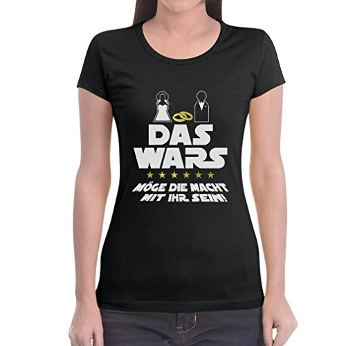 Shirtgeil JGA Junggesellinnenabschied Party Das Wars Mit Ihr Frauen T-Shirt Slim Fit Large Schwarz (Lustige Star Wars Kostüm Ideen)