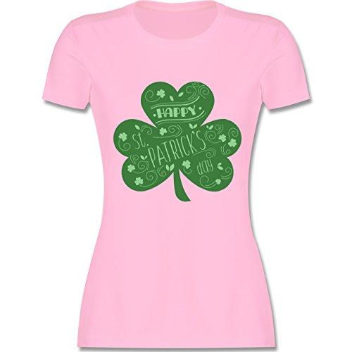 Shirtracer St. Patricks Day - Happy St. Patricks Day Kleeblatt - Damen T-Shirt Rundhals Rosa