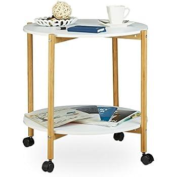 relaxdays beistelltisch mit rollen rolli bambus schublade. Black Bedroom Furniture Sets. Home Design Ideas
