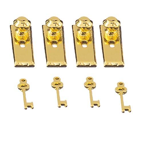 CUTICATE 12. Skala 4 Metall Türgriffe Platten \u0026 Schlüssel Set Puppenhaus Miniatur Griffe (Platte Türgriff)