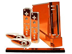 Nintendo Wii Skin New Orange Chrome Mirror System Skins Faceplate Decal Mod