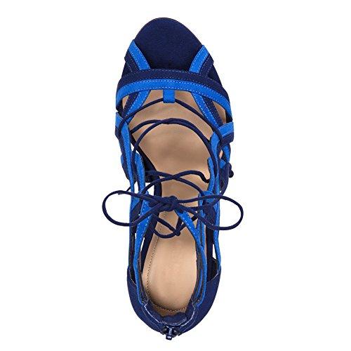Onlymaker Damen Open Toe Römersandalen High-Heels Stiletto Gladiator Schuhe Blau