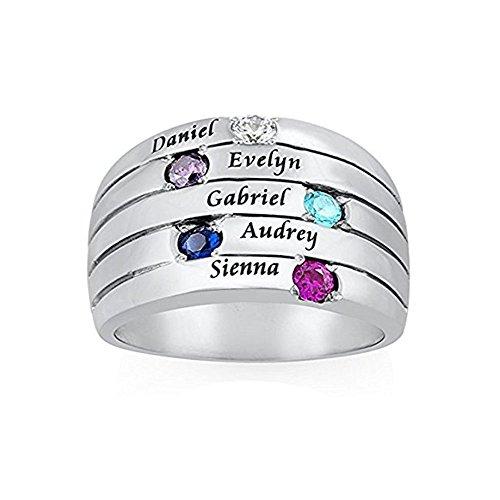 JF Gravierte Mütter Ring Personalisierte 5 Namen Ring mit Birthstones - Custom Made Ring für Sie