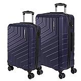 Hartschale Koffer Set mit Handgepäck und Aufgegebenem Gepäck - Ultra Leicht und Robust ABS Trolley mit Alu Teleskopgriff - TSA Schloss und 4 Doppelrollen - Perletti Travel (Blau, S+M)