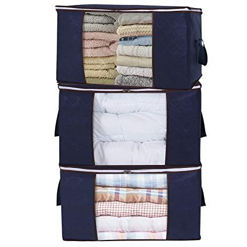 Lifewit porta abiti grande capacità con manico rinforzato per trapunte, coperte, biancheria da letto, organizzatore pieghevole traspirante con cerniera robusta, blu, confezione da 3