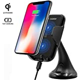 KolorFish NC68 [5W] QI Wireless Car Charger Mount Mobile Phone Dashboard Car Holder Wireless Charger Holder For IPhone 8 8 Plus X Samsung Galaxy S8 Plus Note 8 Wireless Car Mount (Black)