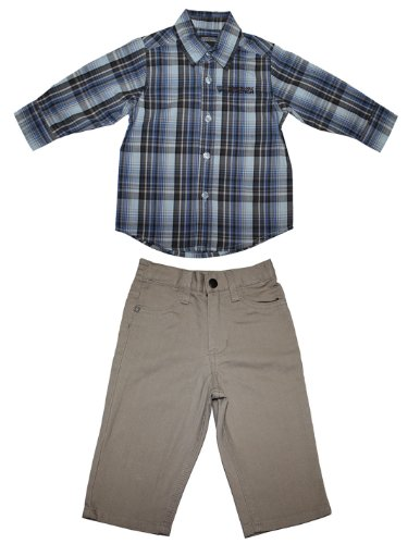 2 PCS Set: Kenneth Cole Reaction boys plaid shirt and pant set 4 Multicolor