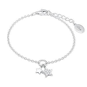 s.Oliver Mädchen-Armkette mit Stern-Anhänger Sterling Silber 925 Zirkonia (synth.) rhodiniert 14+2cm