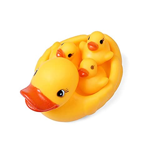 ewinever(R) 1 Set 4pcs Baby Bathtime Bathing Toys Rubber Race Squeaky Ducks Ducklings Yellow