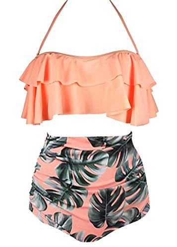 AOQUSSQOA Damen Badeanzug Rüschen Hals Hängen Bikini Sets Zweiteilige Bademode mit Hoher Taille Strandkleidung (EU 34-36 (S),Orange)