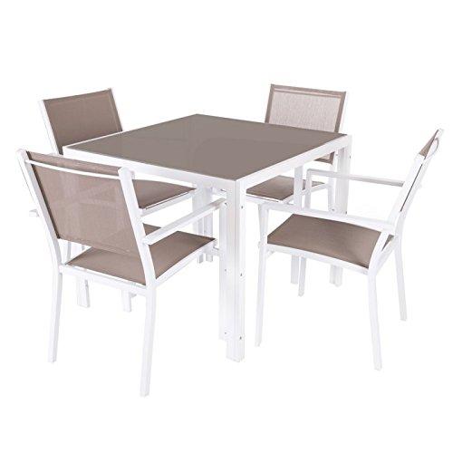 Ensemble table de jardin carrée + 4 chaises en aluminium et verre marron et blanc TARRAGONE - L 90 x l 90 x H 74