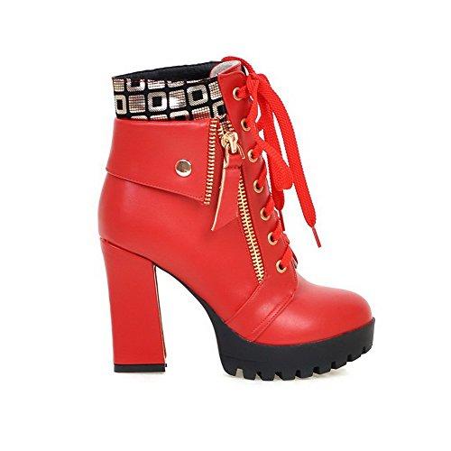 VogueZone009 Damen Niedrig-Spitze Gemischte Farbe Schnüren Hoher Absatz Stiefel, Rot, 35