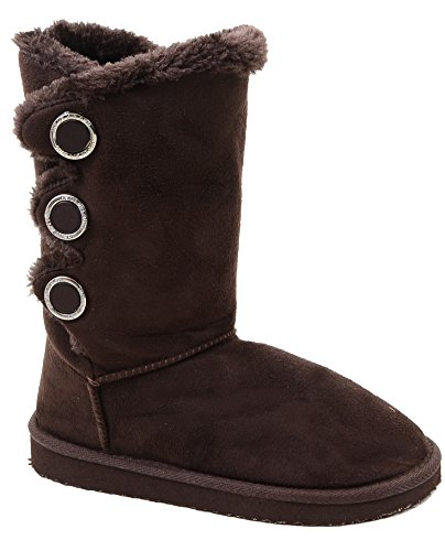 fourever Funky Damen Furry-Button flach Vegan Wildleder warm Slipper Boots Braun