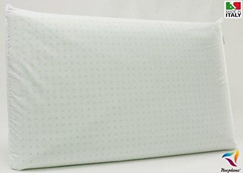 Guanciale in Schiuma Lattice Naturale 100% e Cotone Cuscino Saponetta da Letto 12 cm Anallergico Anti Acaro Battericida Traspirante - by Neoplano