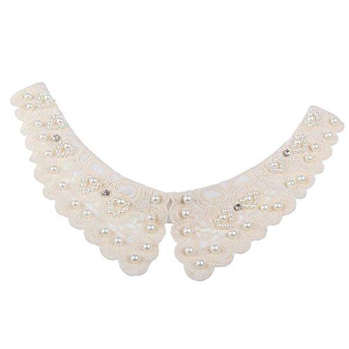 Fenteer Damen Kragen Abnehmbare Kragen Halbes Hemd Elegante Hälfte Shirt Weiß/Schwarz/Denim/Chiffon - Weiß Perlen, Halsband (Hemd Perlen)