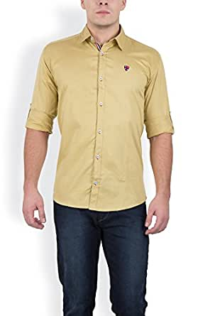 GHPC Men's Cotton Casual Shirt(CS62254_Yellow_40)