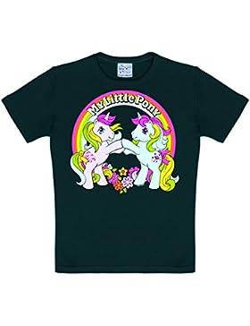 Logoshirt Little Pony - Arco Iris - Unicornio Camiseta Para Niña - Negro - Diseño Original con Licencia