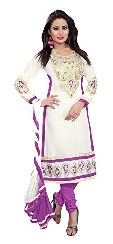 Khushali Fashion Women Cotton Salwar Suit Dress Material (Mn04 _White _Free Size)