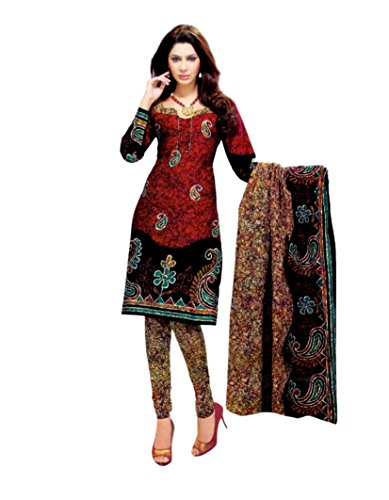 Miraan Women's Cotton Dress Material (SG314_Maroon_One Size)