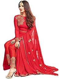 Aryan Fashion Women Georgette Anarkali Semi-Stitched Salwar Suit (Fashion Aryan_ERTY10637_Red_Free Size)