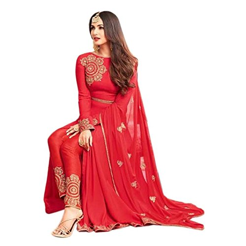 Ethnic Empire Women\'s Georgette Semi Stitched Anarkali Salwar Suits (Ethnic_FlexER10637_Red_Free Size)