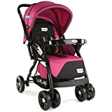 LuvLap Galaxy Stroller/Pram, Extra Large Seating Space, Easy Fold, for Newborn Baby/Kids, 0-3 Years (Pink)