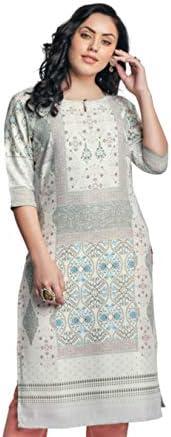 Naixa Women's Rayon Cotton Stitched Kurta (Sky B