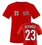 EM 2016 - Trikot - EM 2016 - Schweiz - 23 - Kinder T-Shirt - Rot/Weiss Gr. 86-92