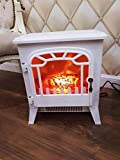 Garden Mile® 1.8Kw Traditional White Cast Iron Effect Log Burner Electric Stove Flame