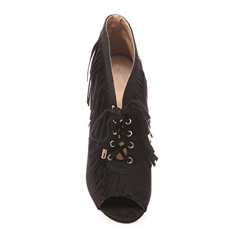 La Modeuse - Bottine peep toes (bout ouvert), en simili daim à lacets Noir
