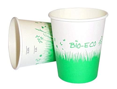 PZ 50 Becher Bio CL 25 (8 OZ) BIODEGRADABILE für Cappuccino Schokolade Calda Caffe' Americano COMPOSTABILE Pappkarton -