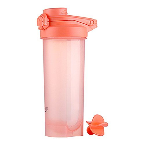 Protein Shaker Flasche mit Mischkugel 700 ml Wasserflasche Eiweiß Shaker BPA-frei Gym Fitness Workout Becher (Rosa)