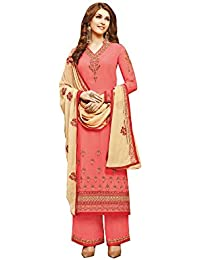 Like A Diva Coral Pink & Beige Salwar/Palazzo Dress material Suit with Embroidery for Women