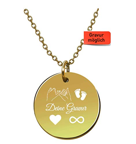 Tu Es Belle Damen Kette mit Gravur - Premium mit Plättchen 18k Gold vergoldet, Frauen Halskette mit rundem Anhänger, Plättchenkette, Goldkette, Gratis Geschenk!