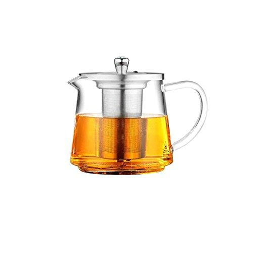 Théière Ensemble de thé en Acier Inoxydable Filtre en Verre résistant à la Chaleur cuisinière à Induction Pot à thé Multi-usages 1200ml GAODUZI (Style : A)