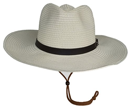 Bigood Panama Femme Homme Chapeau à Bord Large Plage Soleil Pêche Eté Casual Beige