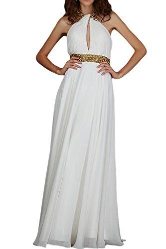 """Donna Ivydressing A-linea Neck cantore con""""sassi Chiffon Bete vestito da sera abito da festa Bianco"""