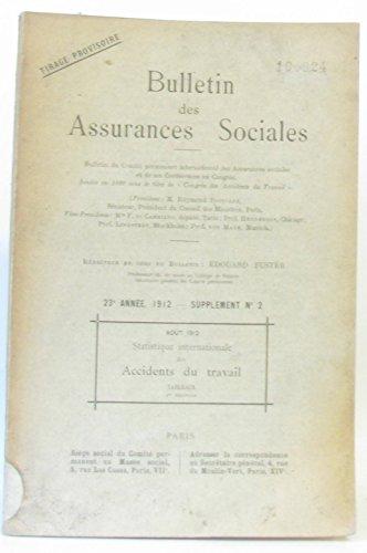 Bulletin des assurances sociales 23e année 1912 supplément n°2 par Collectif