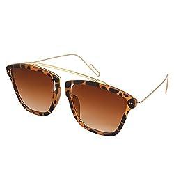 Silver Kartz Stylish Eyedior Leopard Print Wayfarer Unisex Sunglasses(Wy-206 55 Brown)